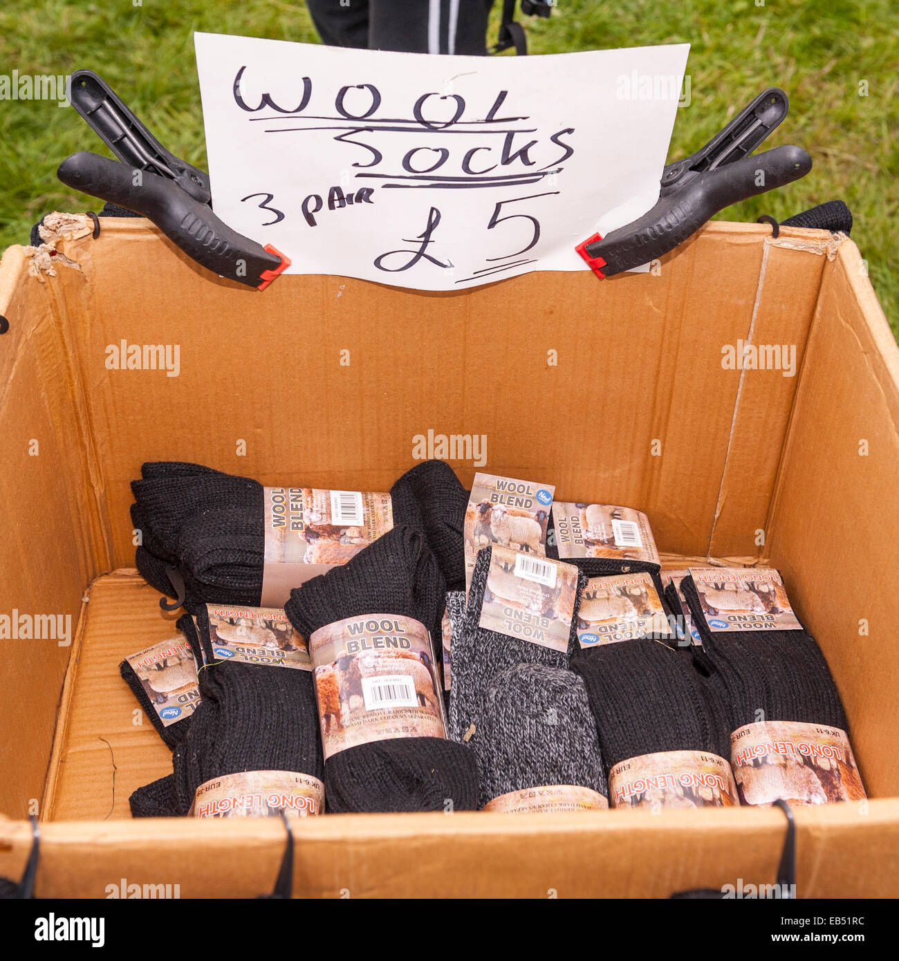 Wool socks for sale - Stock Image