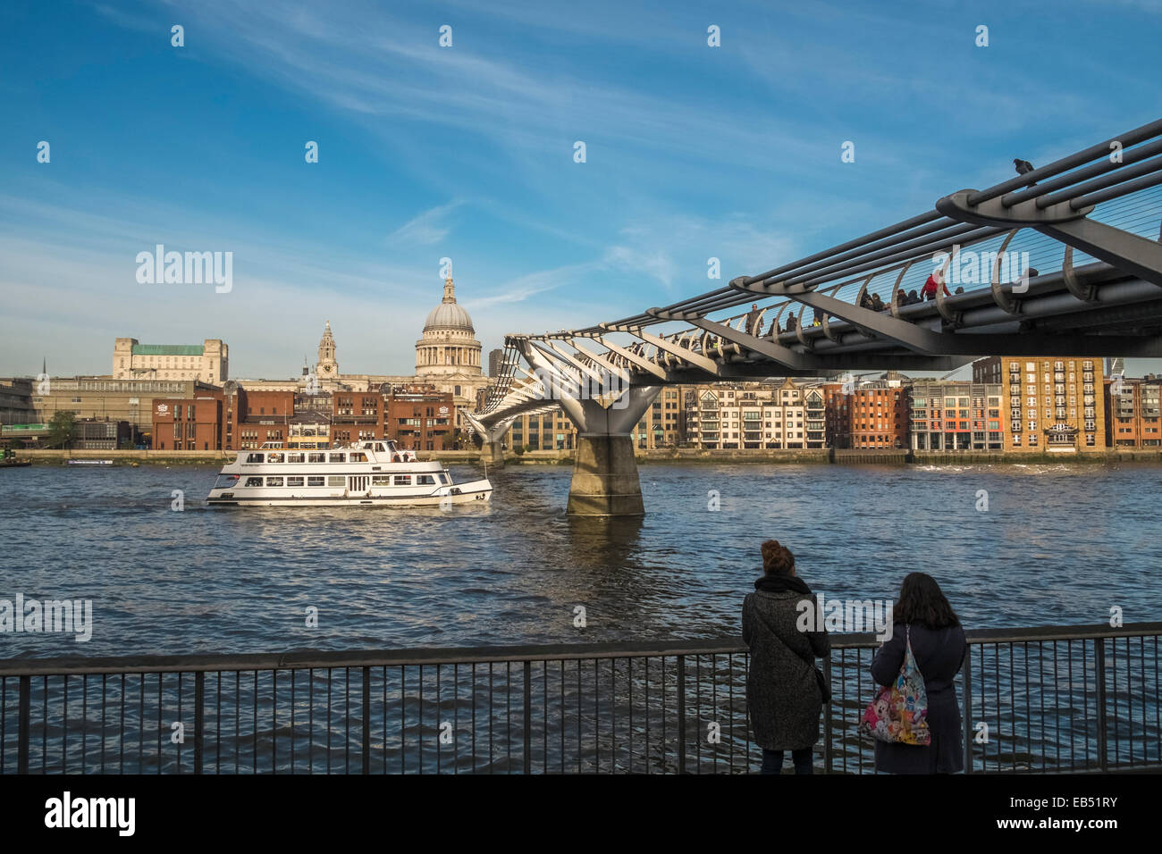Millenium Bridge, Looking towards St Pauls Cathedral, London, England UK Stock Photo
