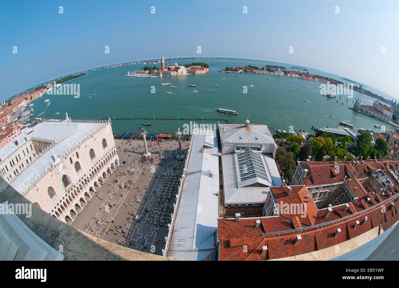 Fish eye lens view from St Marks Bell Tower Venice Italy showing Doges Palace Il Bacino the sea and the island of - Stock Image
