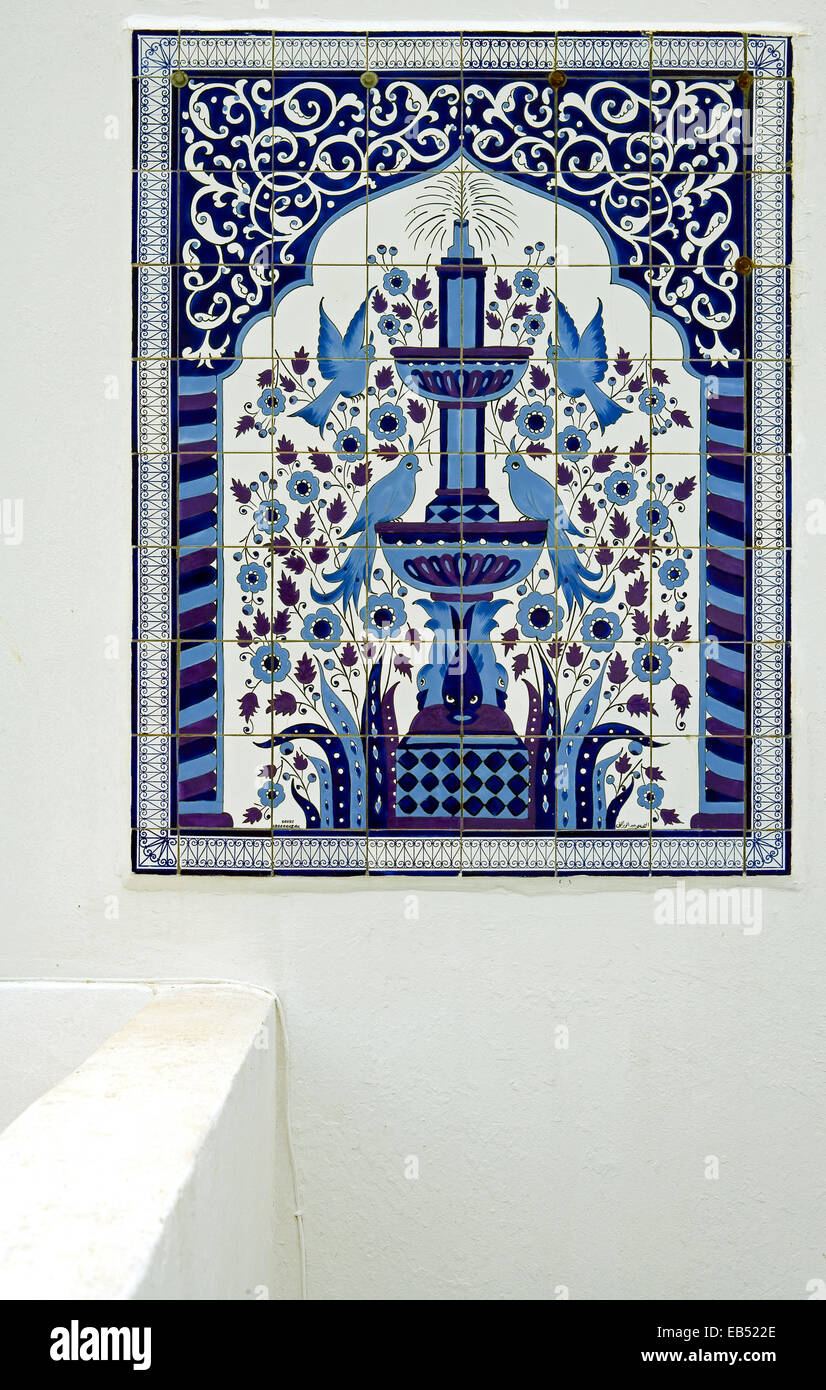 Tunisia, Sidi Bou Said, ceramic works in a traditional house in the country center - Stock Image