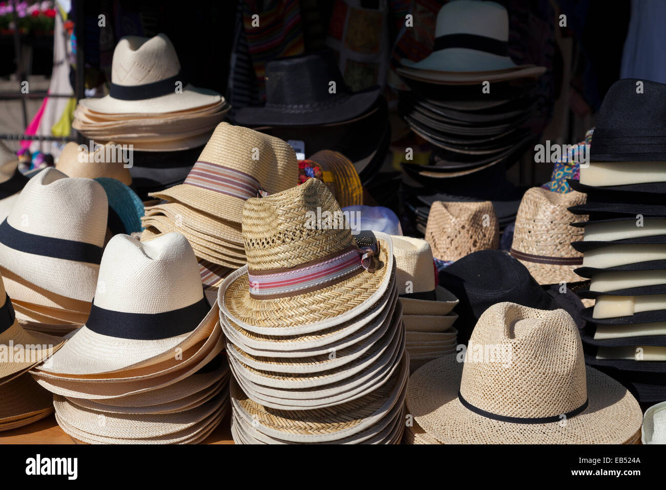 c6d134642d88f5 Stacks of mens summer hats for sale on market stall · Peter Noyce GENS / Alamy  Stock Photo