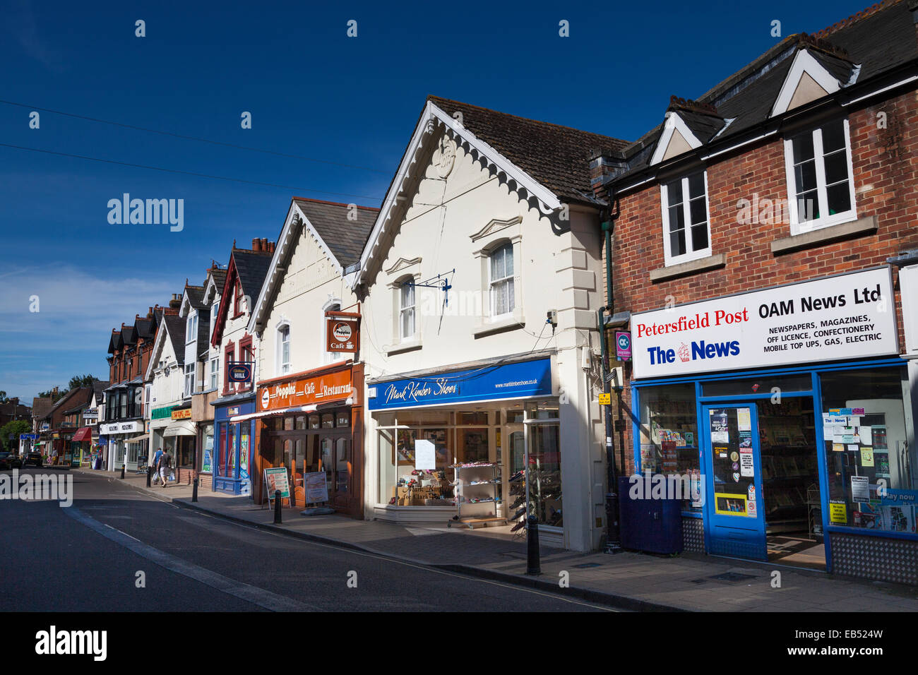 Small local shops in Chapel Street Petersfield Town Centre Stock Photo