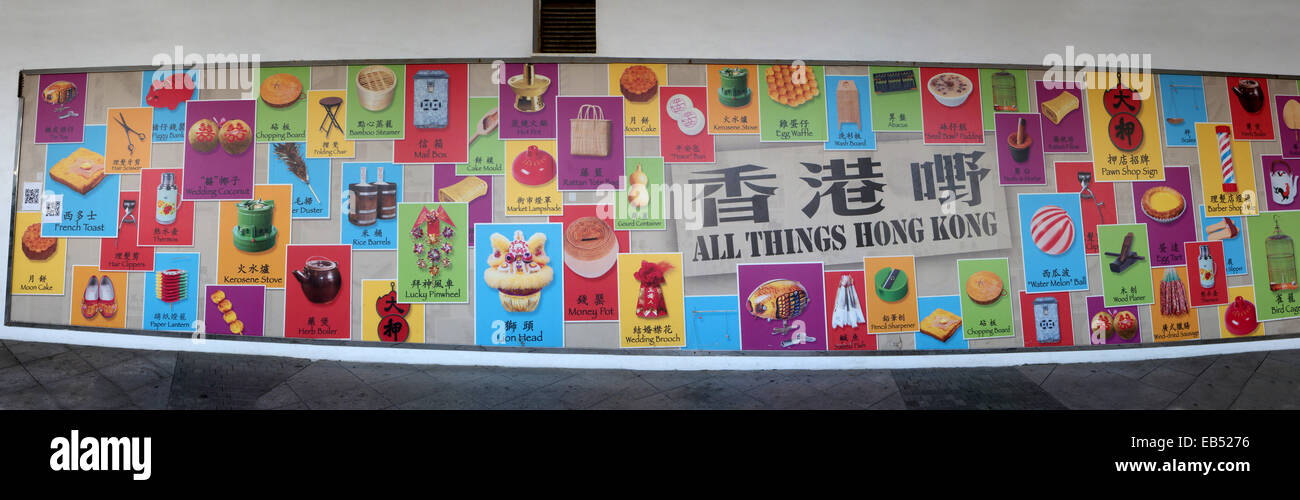 China All Things Hong Kong-- A nostalgic Poster of local products - Stock Image