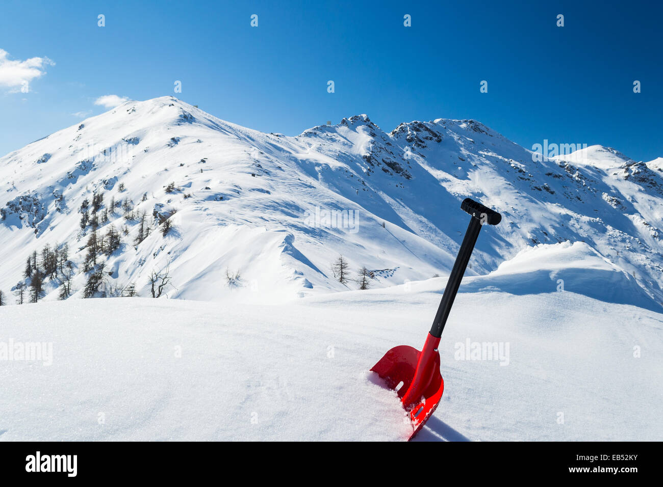 Red Avalanche Shovel In Powder Fresh Snow Scenic Snowcapped High Stock Photo Alamy