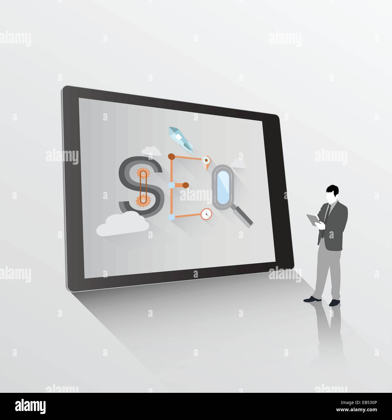 Search engine optimization graphic on tablet with businessman - Stock Vector