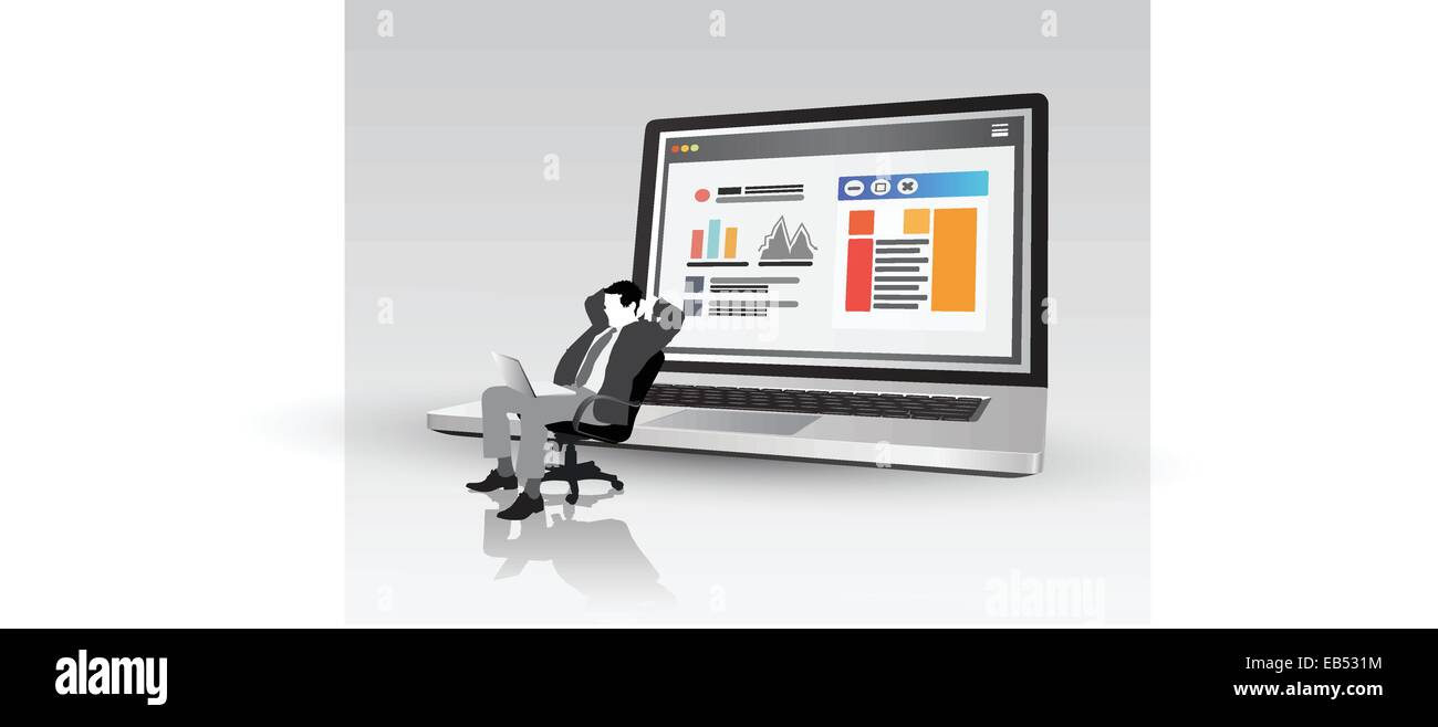 Businessman on swivel chair in front of laptop showing data - Stock Image
