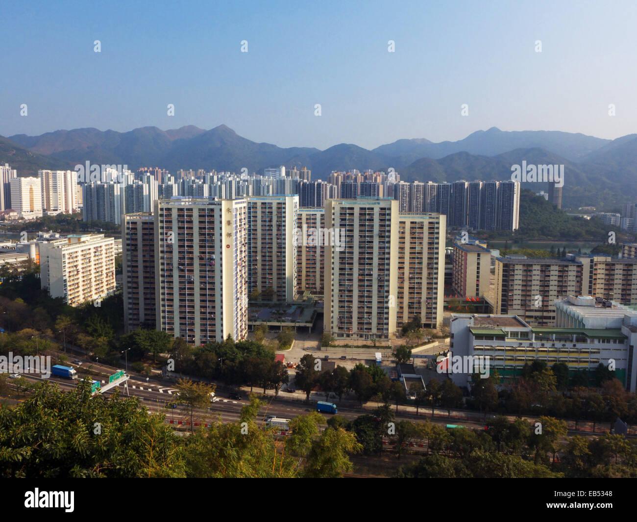 China Hong Kong Public Housing estate Apartment block in Shatin New Territories - Stock Image