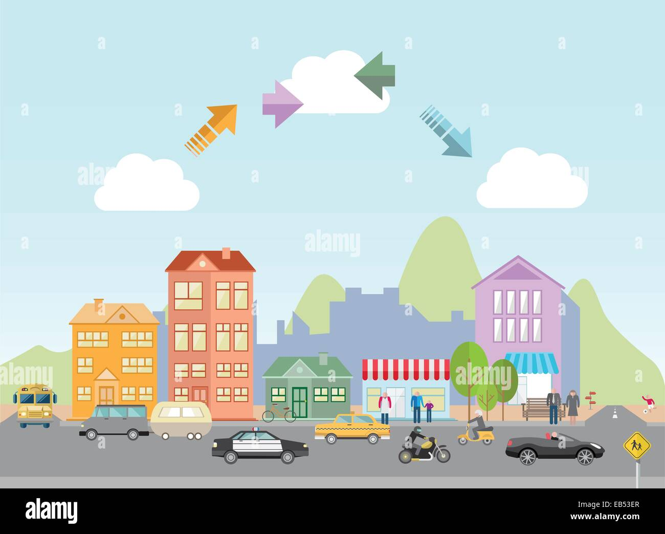 Digitally generated town with road and arrows in sky Stock Vector