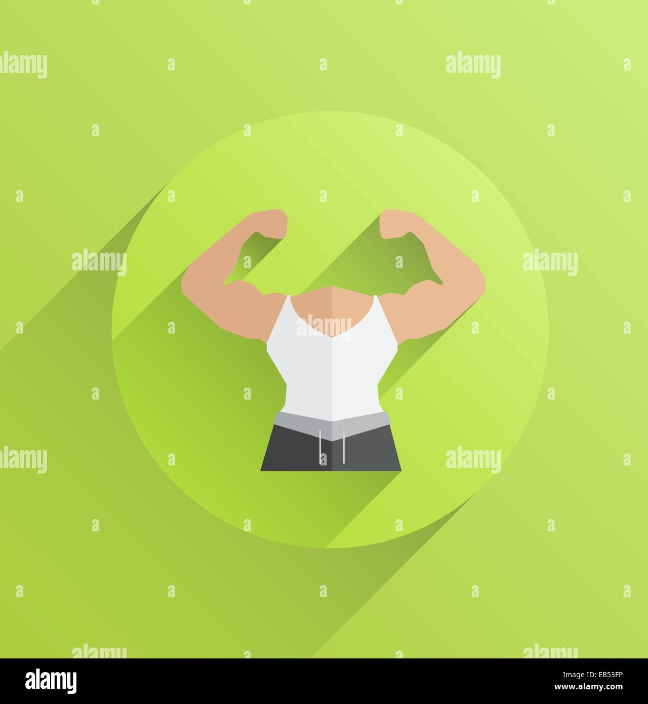 Digitally generated body with flexing biceps - Stock Vector