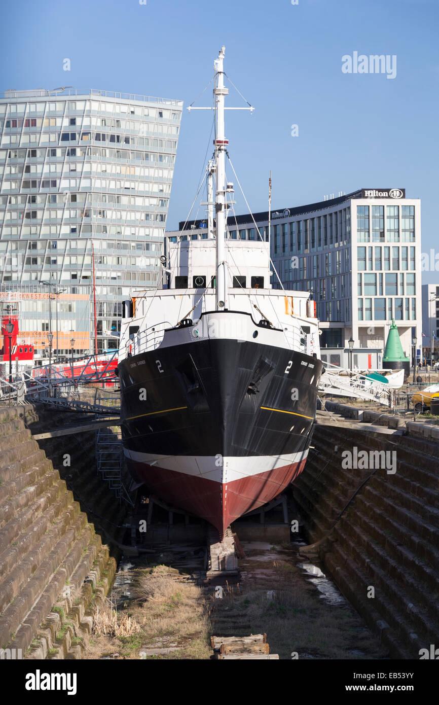 UK, Liverpool, the ship the 'Edmund Gardner' in dry dock. - Stock Image