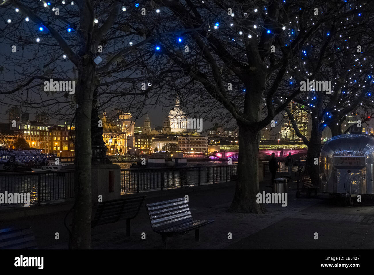 St Pauls Cathedral and riverside buildings at night, London, England UK Stock Photo