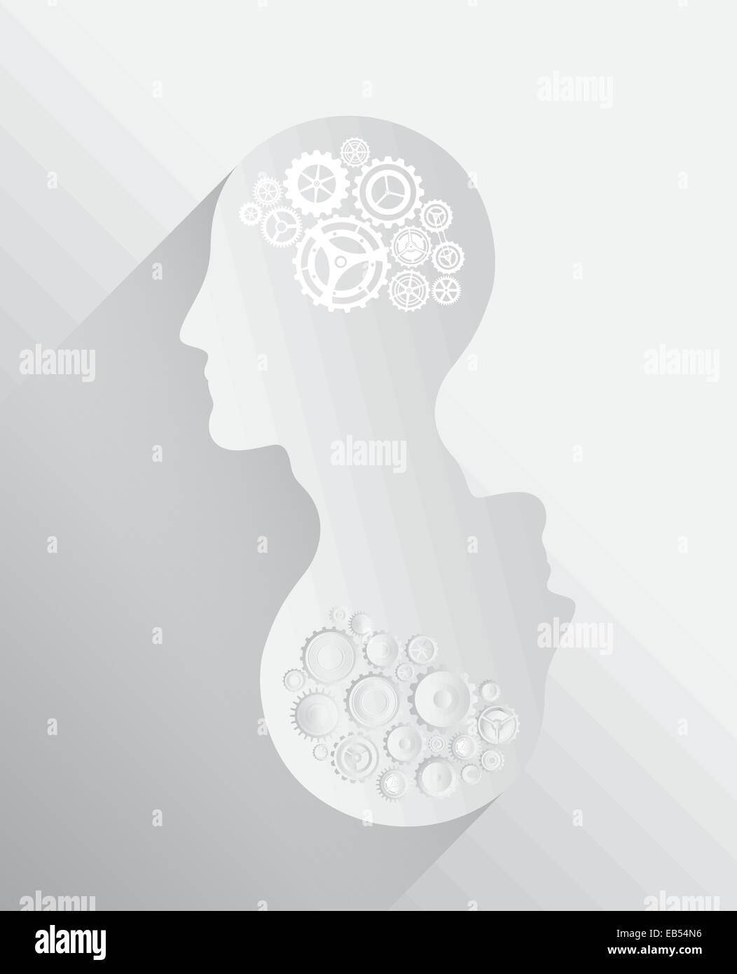 Heads with cogs and wheels for brains - Stock Image
