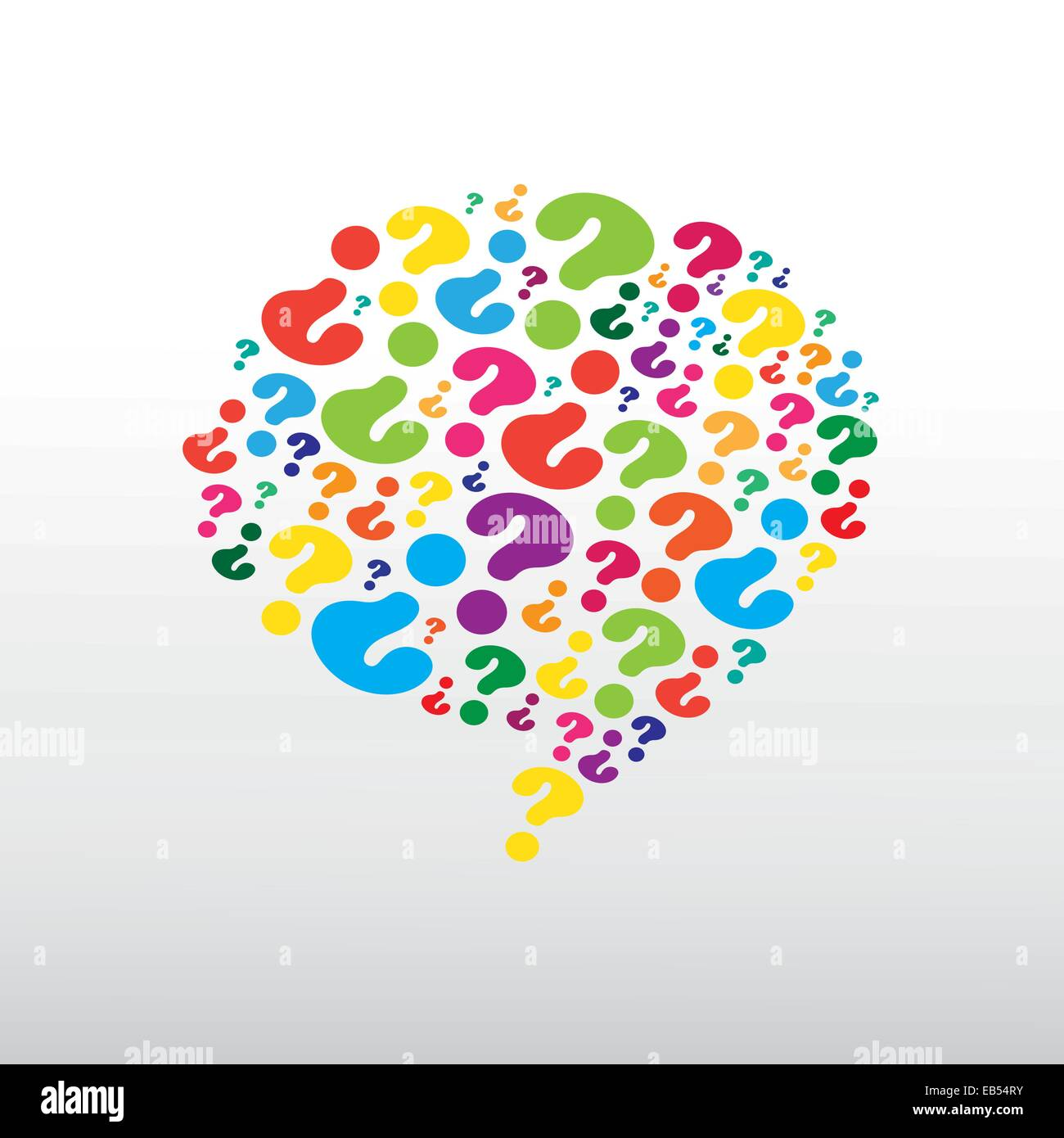 Question mark pattern in colourful cloud - Stock Image