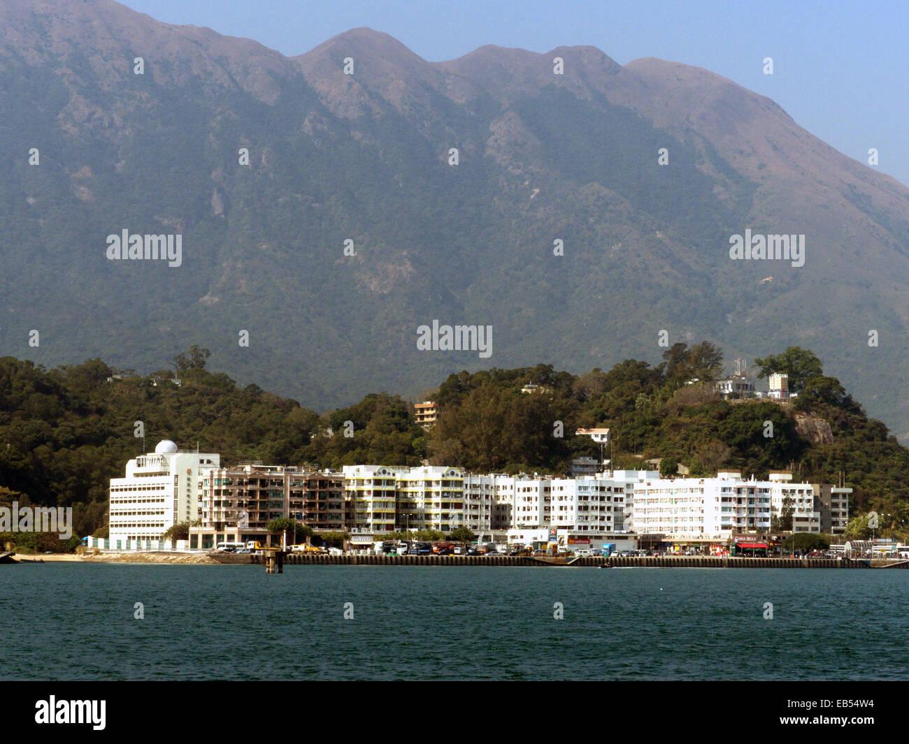 China Hong Kong Lantau island Silvermine Bay apartment commercial building - Stock Image