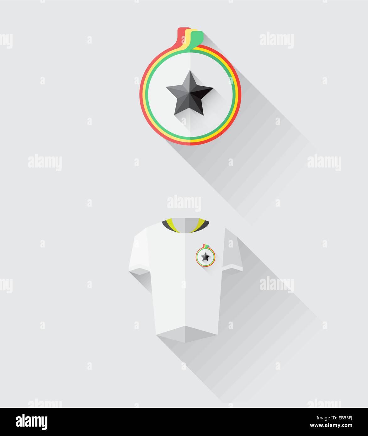 Ghana jersey and crest vector - Stock Vector