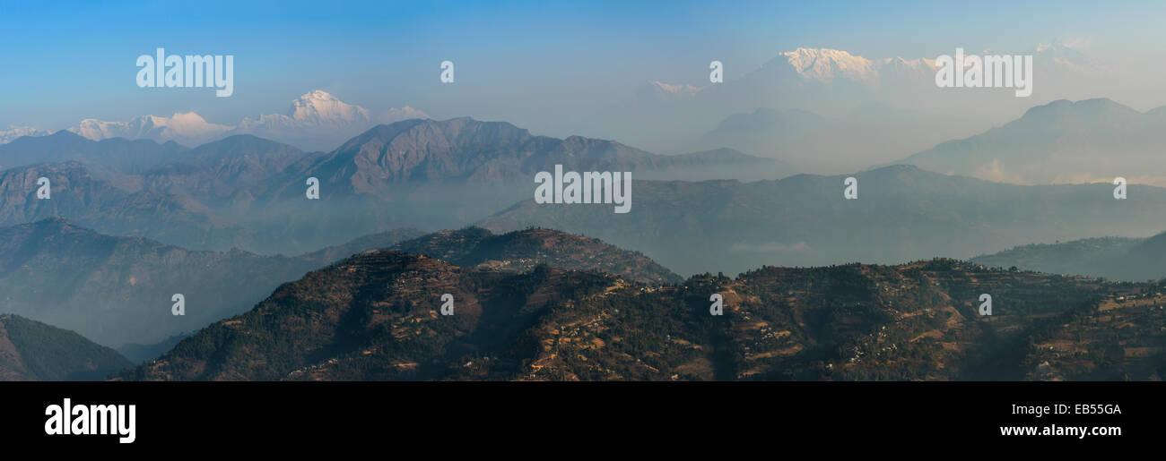 Annapurna range, view from Tansen, Nepal - Stock Image