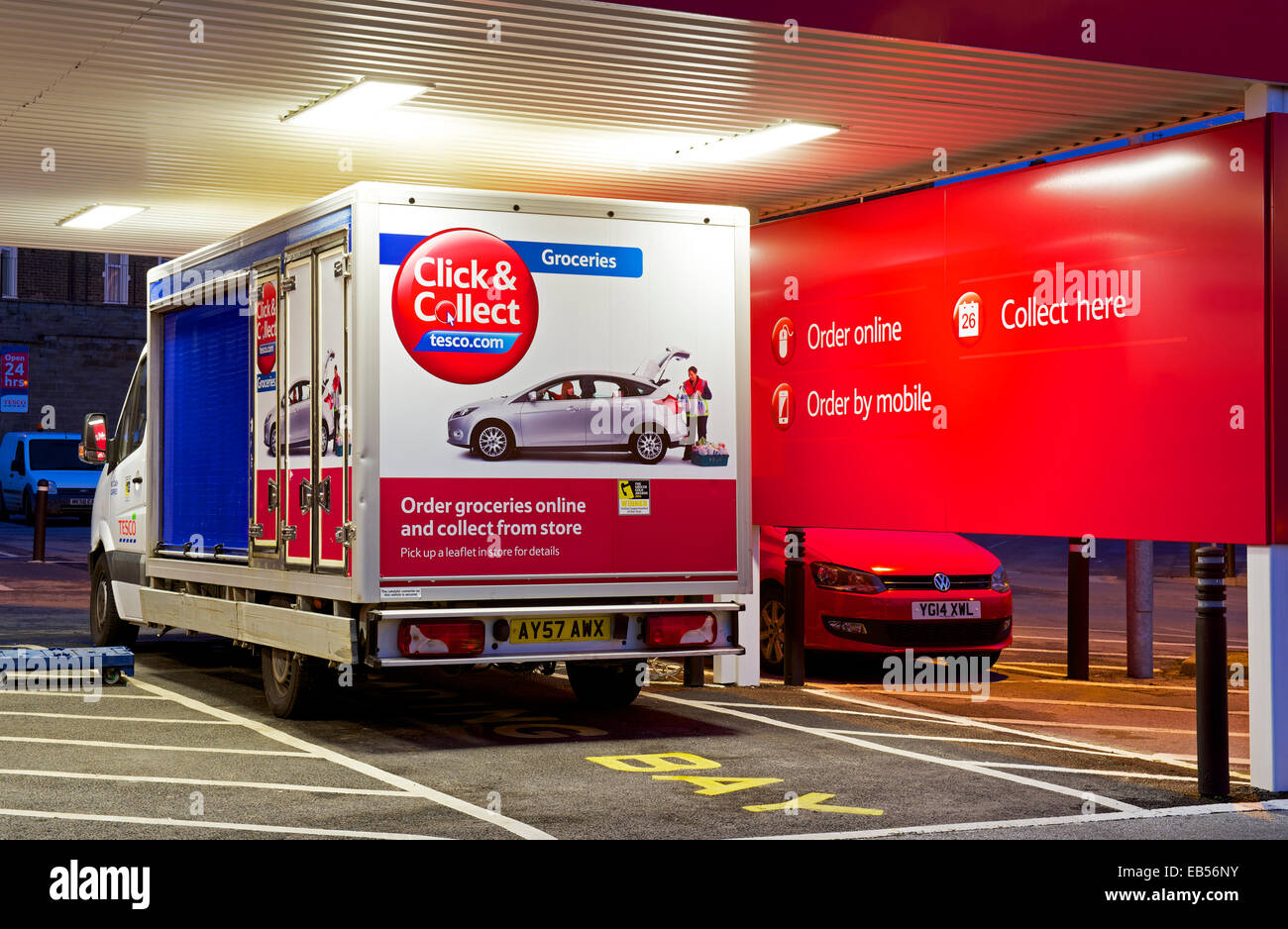 Tesco click & collect facility, Skipton, North Yorkshire, England UK - Stock Image