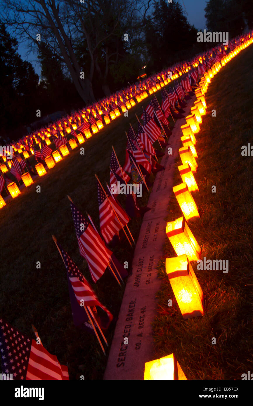 Gettysburg, PA, USA - November 15, 2014 : 12th Annual Luminary Ceremony at Soldiers Cemetery - Stock Image