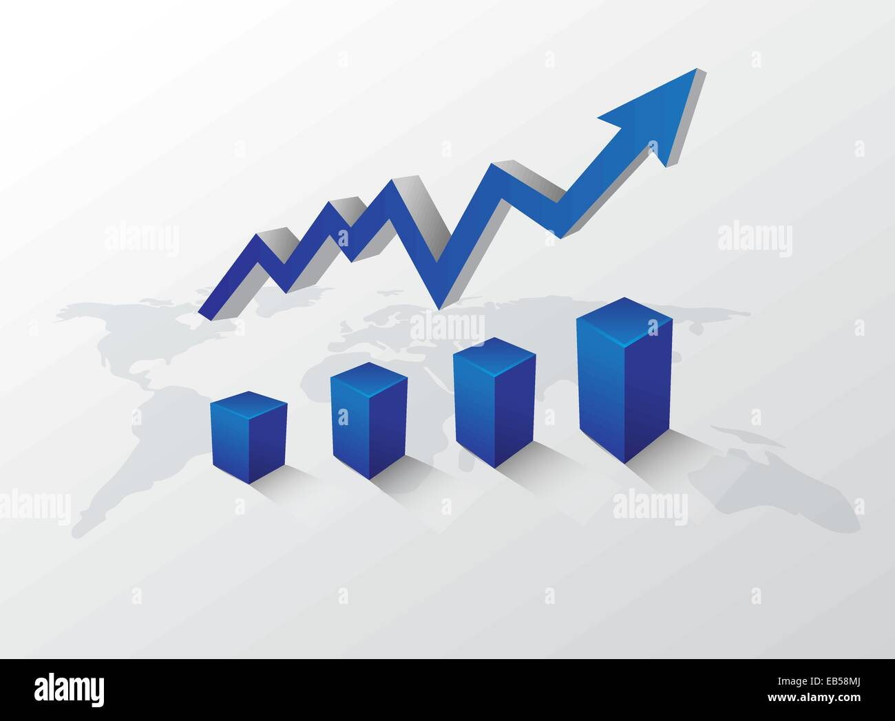 Arrow pointing up with graph on world map stock vector art arrow pointing up with graph on world map gumiabroncs Image collections