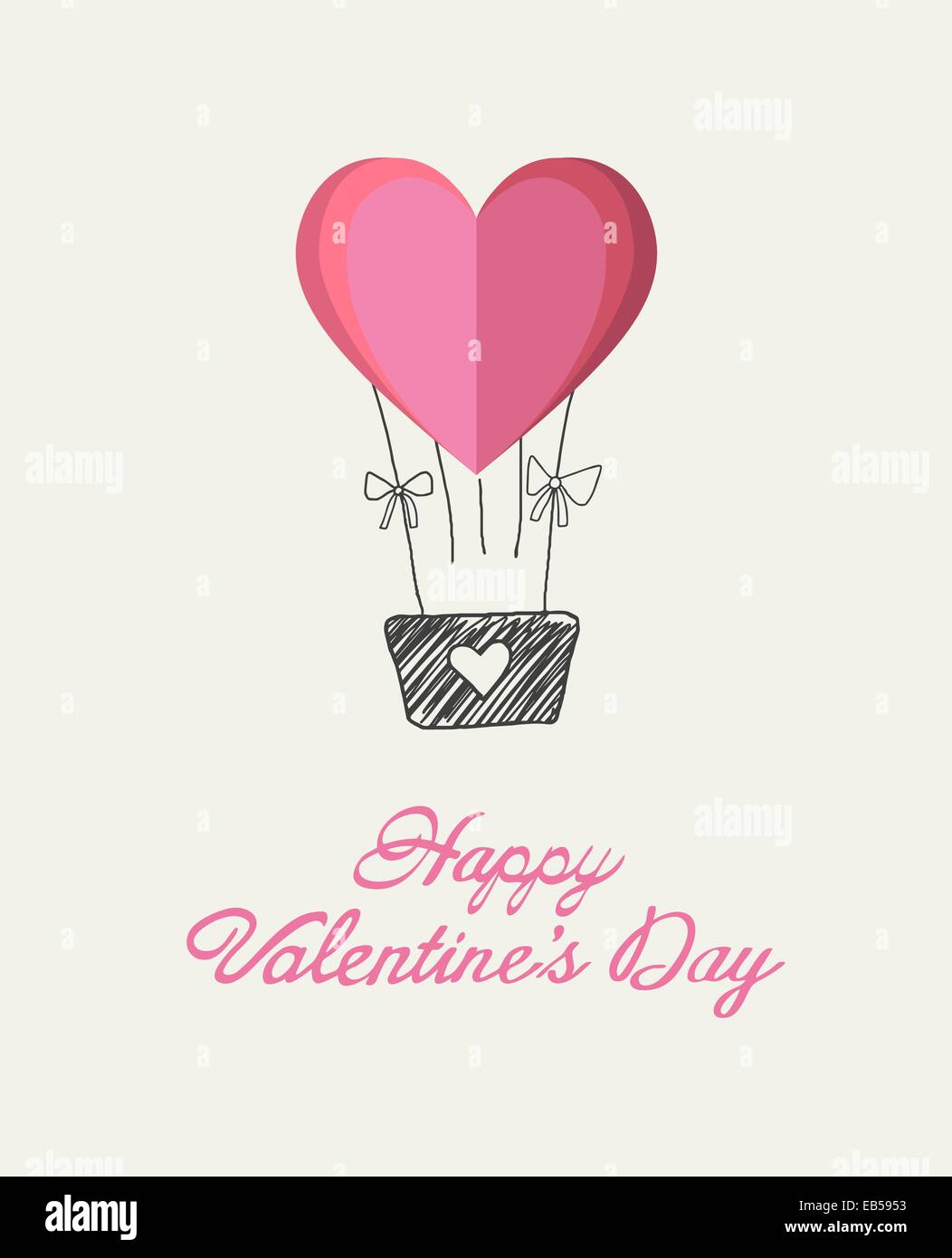 Happy Valentines Day Vector With Heart Hot Air Balloon Stock Vector