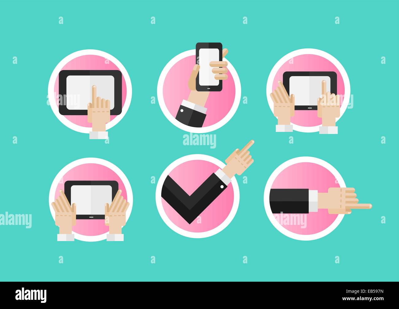Hand pointing and using media devices - Stock Image