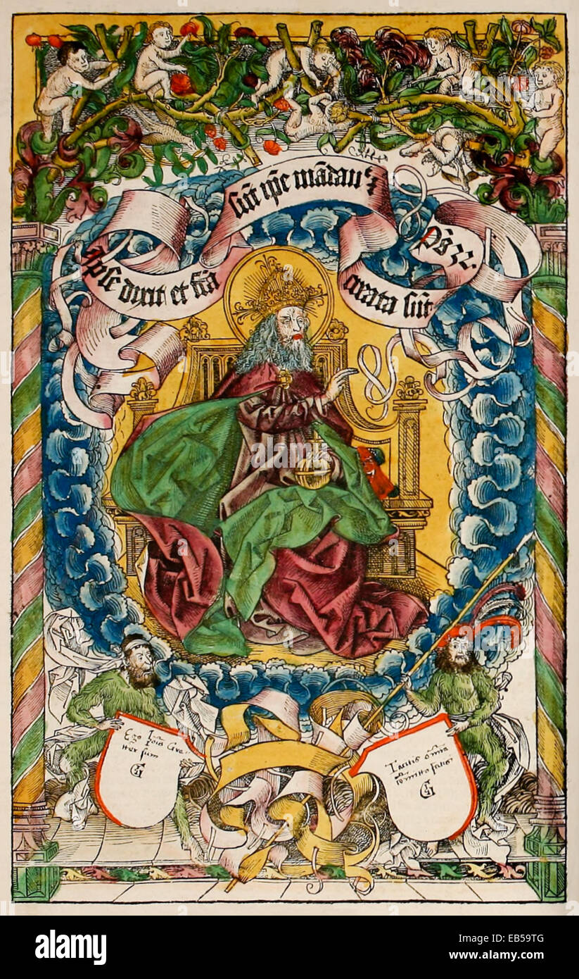 God the Father Enthroned. Frontispiece from 'Liber Chronicarum' by Hartmann Schedel (1440-1514), woodcut - Stock Image