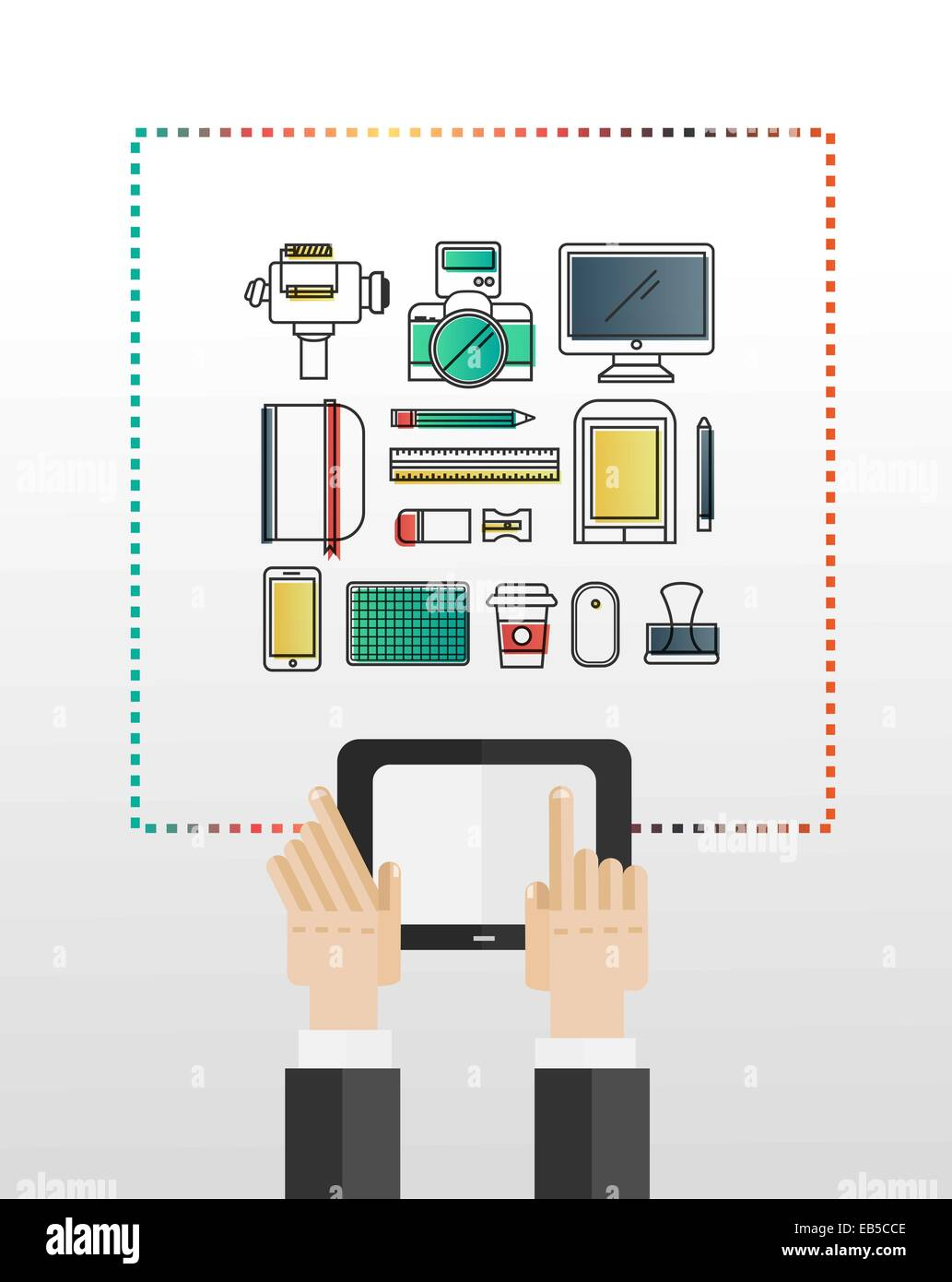 Hands using tablet pc with multimedia icons - Stock Image