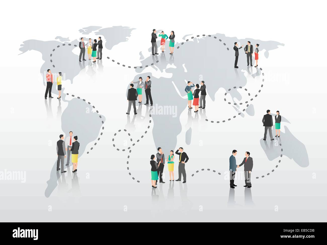 Business people with connecting lines and world map stock vector art business people with connecting lines and world map gumiabroncs Choice Image