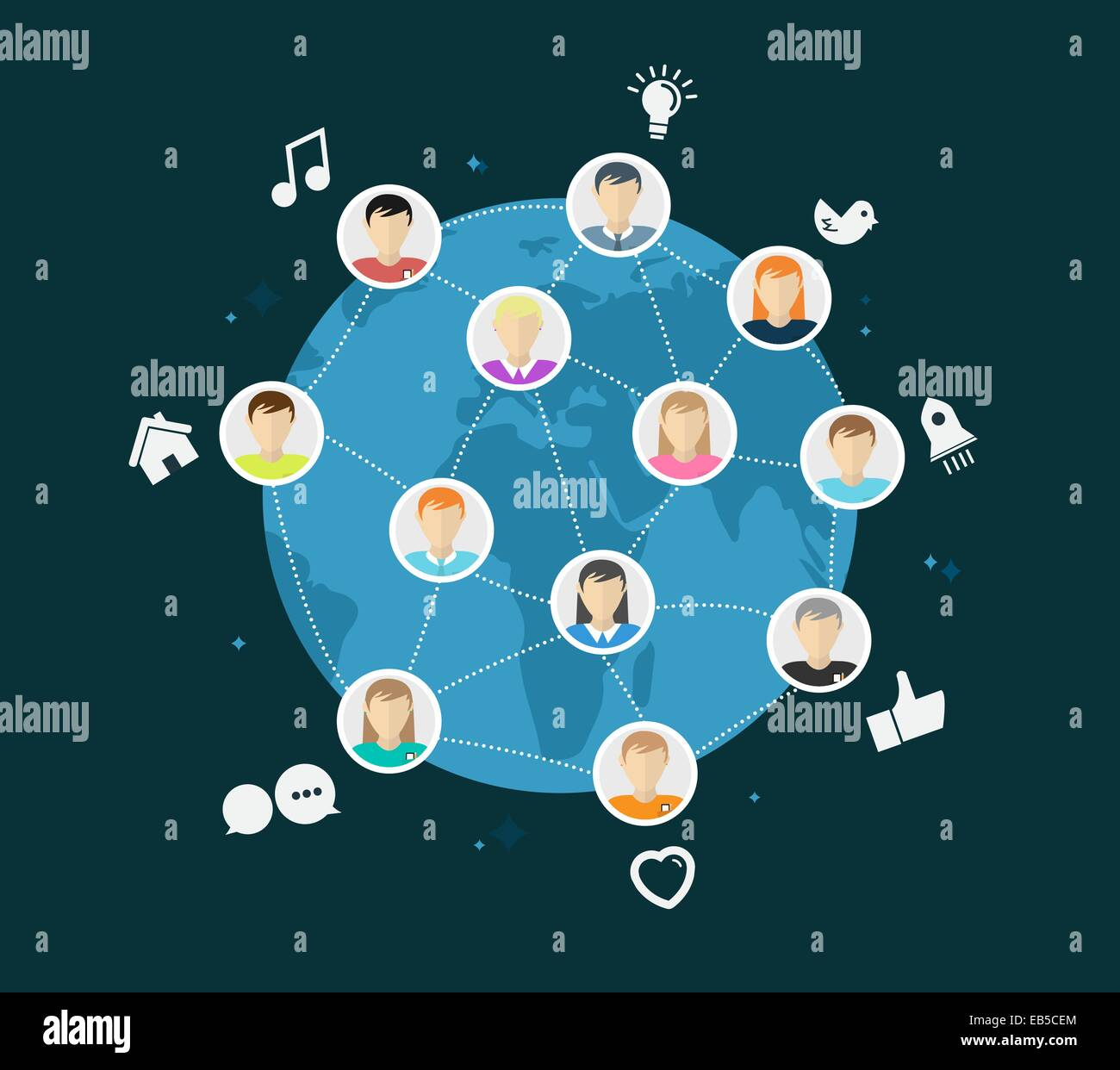 Online global community vector with app icons - Stock Vector