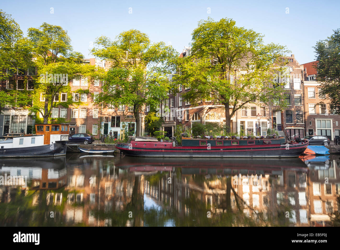 The Prinsengracht canal in Amsterdam. The area is designated as a World Heritage Site by UNESCO. - Stock Image
