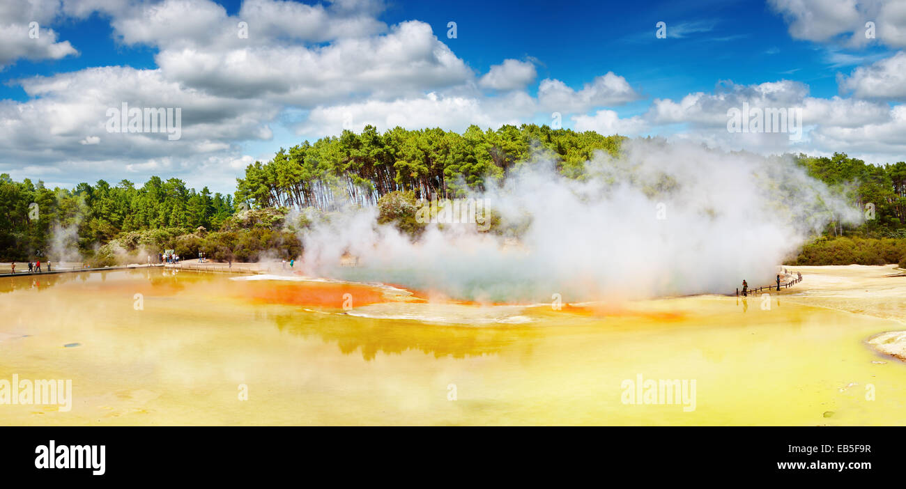 Artist's Palette pool, hot thermal spring, Rotorua, New Zealand - Stock Image