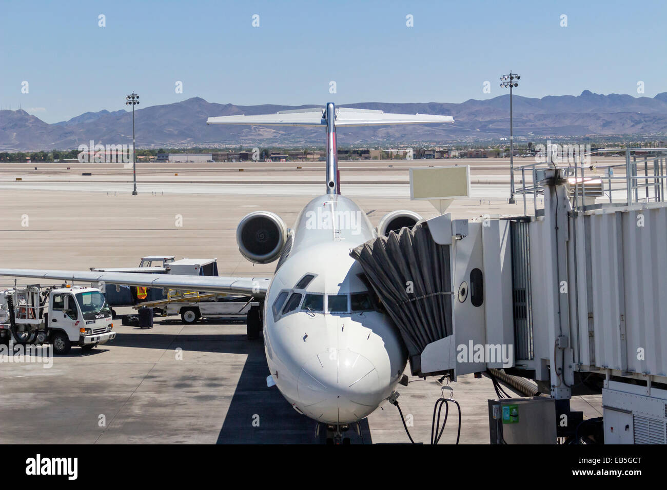 A commercial jet preparing for flight at the Las Vegas, Nevada McCarran airport. - Stock Image