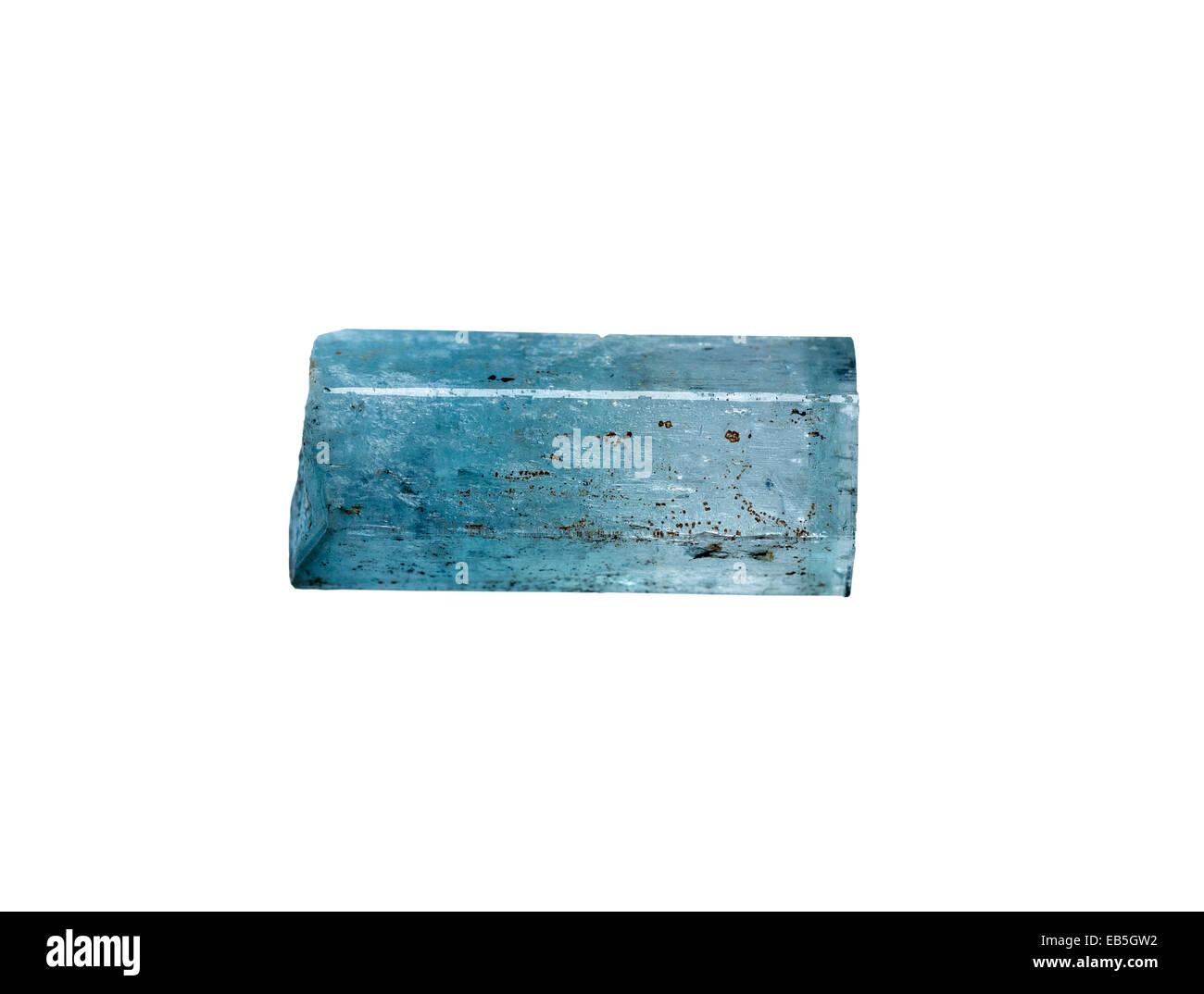 Aquamarine a transparent pale blue variety of Beryl Be3Al2Si6O18 - Stock Image