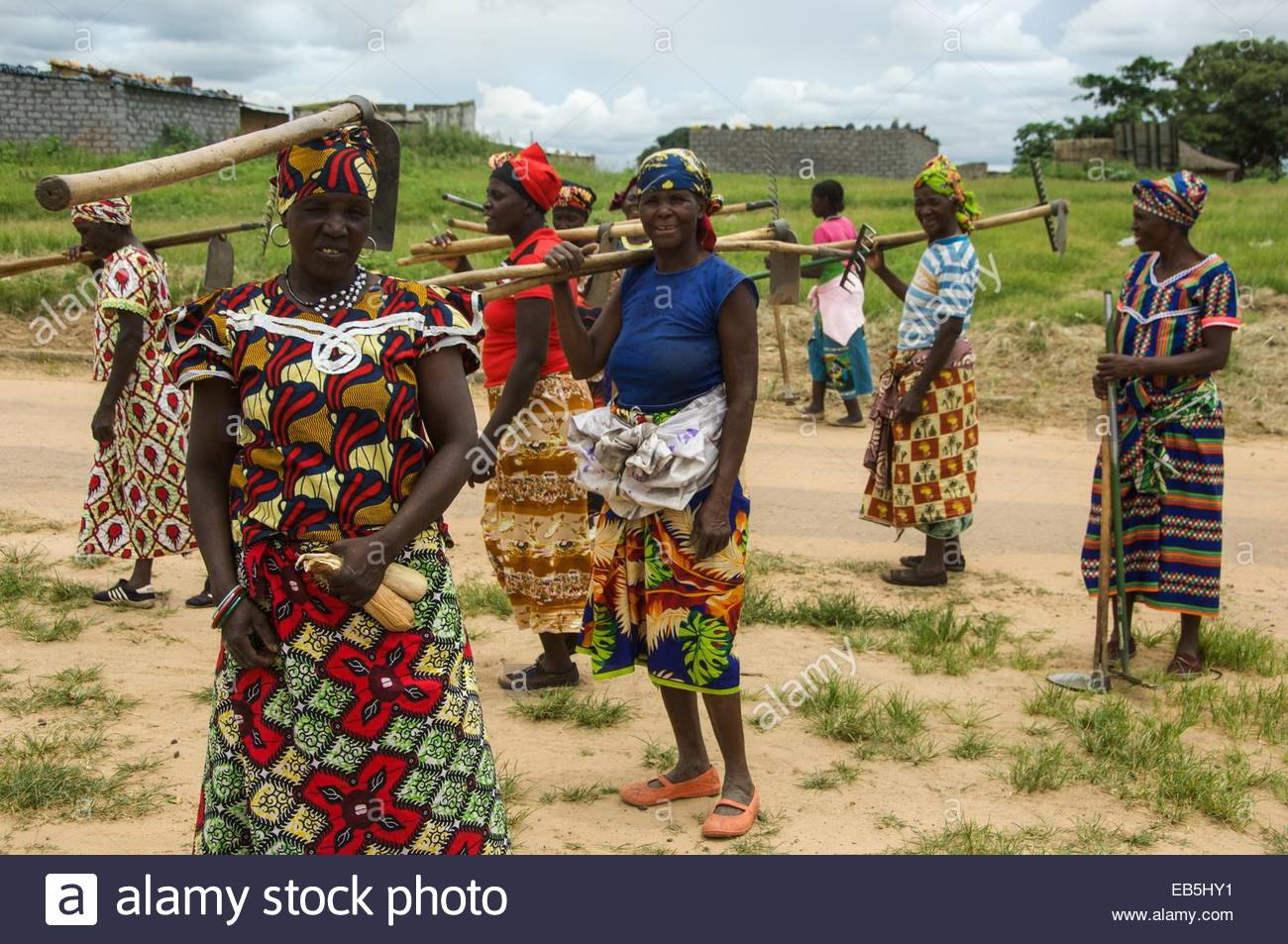 An all female work party in the town of Cuito Cuanavale. Stock Photo