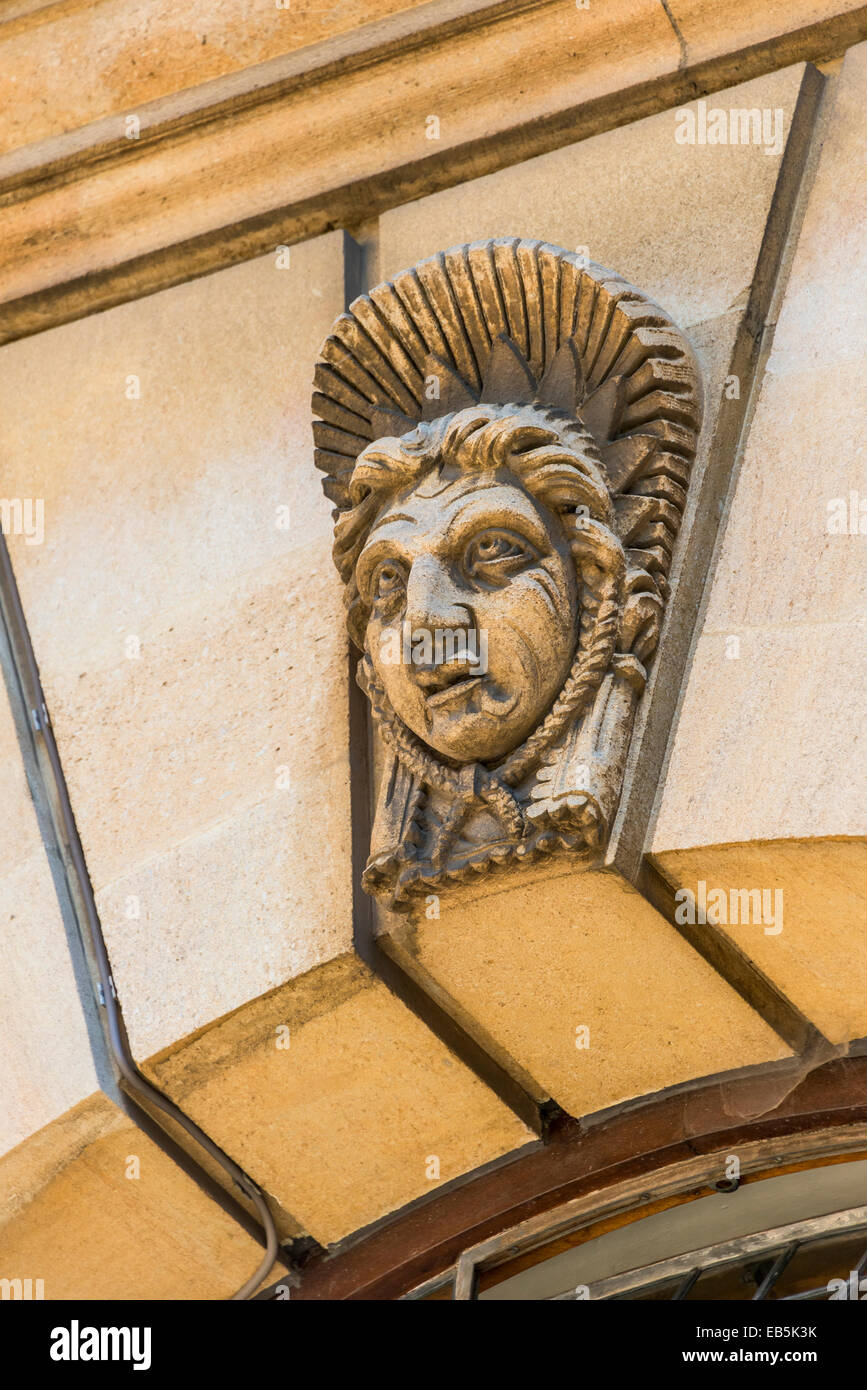 Decorative stone work on the Sheldonian Theatre, a building designed for university ceremonies designed by Sir Christopher Stock Photo