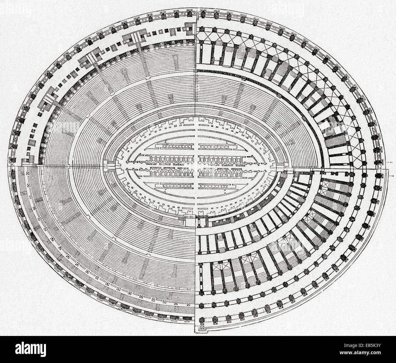 The Colosseum Or Coliseum Aka Flavian Amphitheatre Rome Italy Floor Plan From Kunstgeschichte In Bildern Stock Photo Alamy