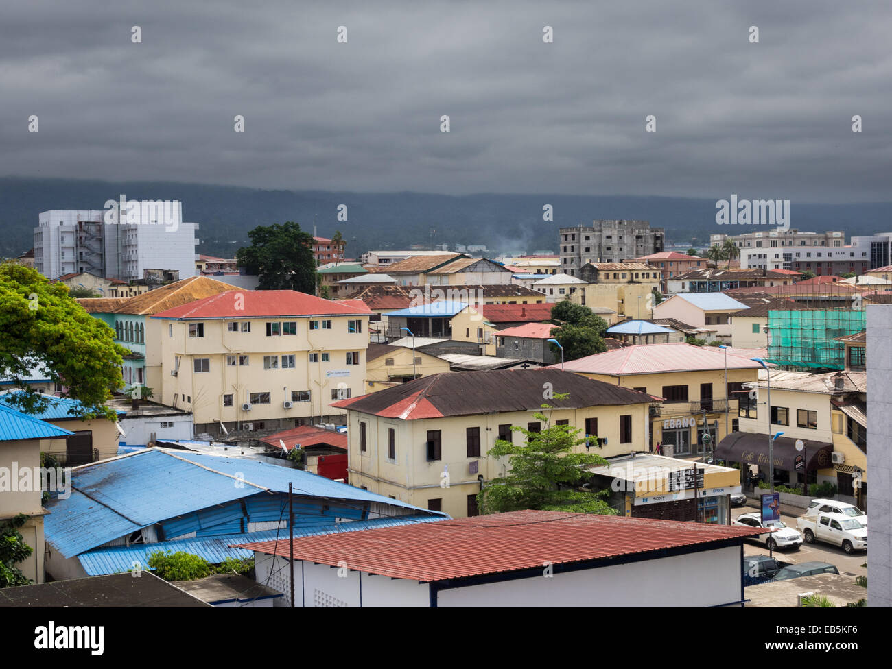 View over the rooftops of city of Malabo, Equatorial Guinea Stock Photo
