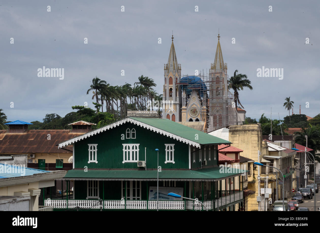 View over the rooftops of city towards the Spanish colonial cathedreal church in Malabo, Equatorial Guinea Stock Photo