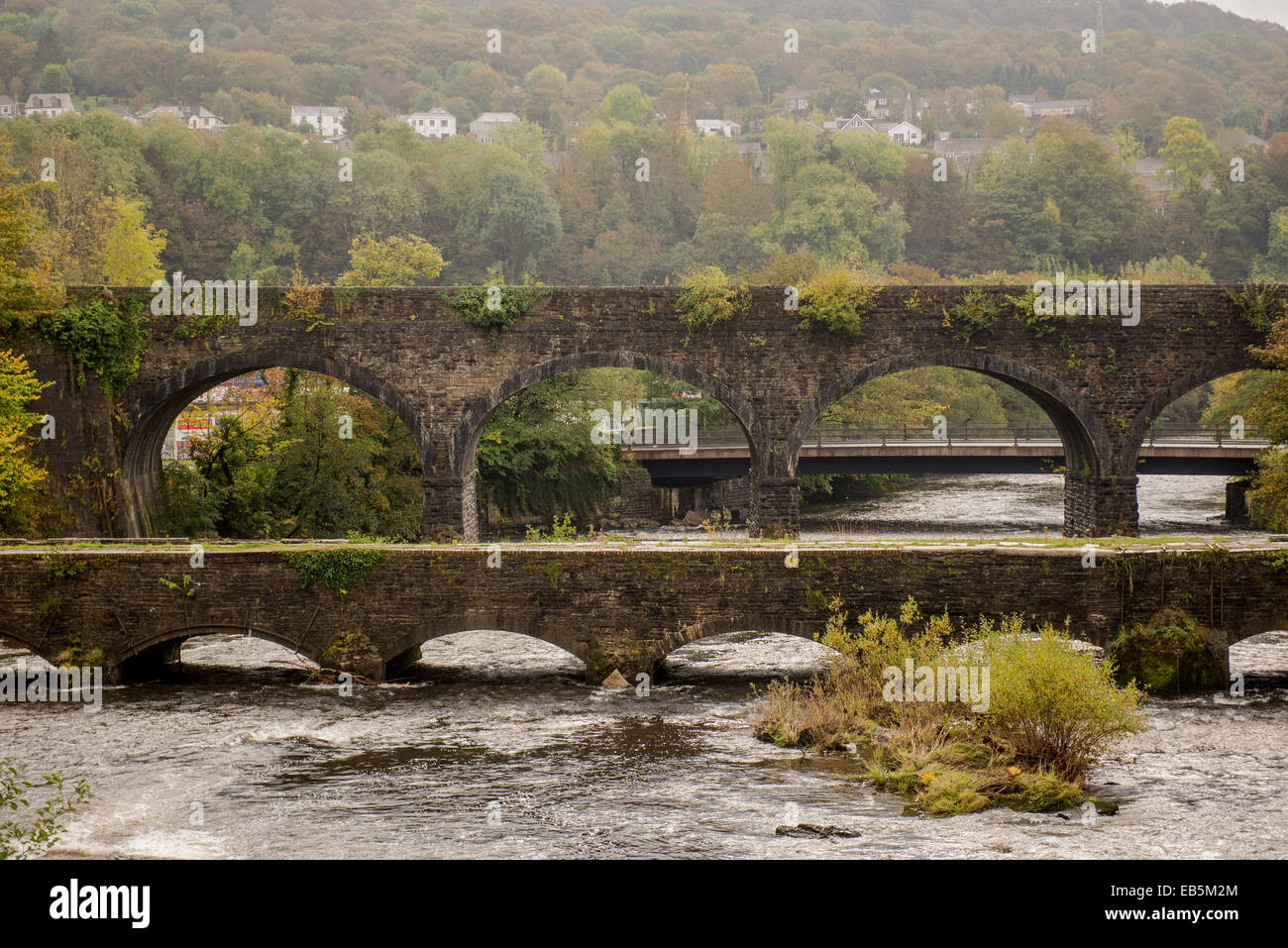 The railway bridge and Tennant Canal Aquaduct in Aberdulais, Neath, Wales,UK - Stock Image
