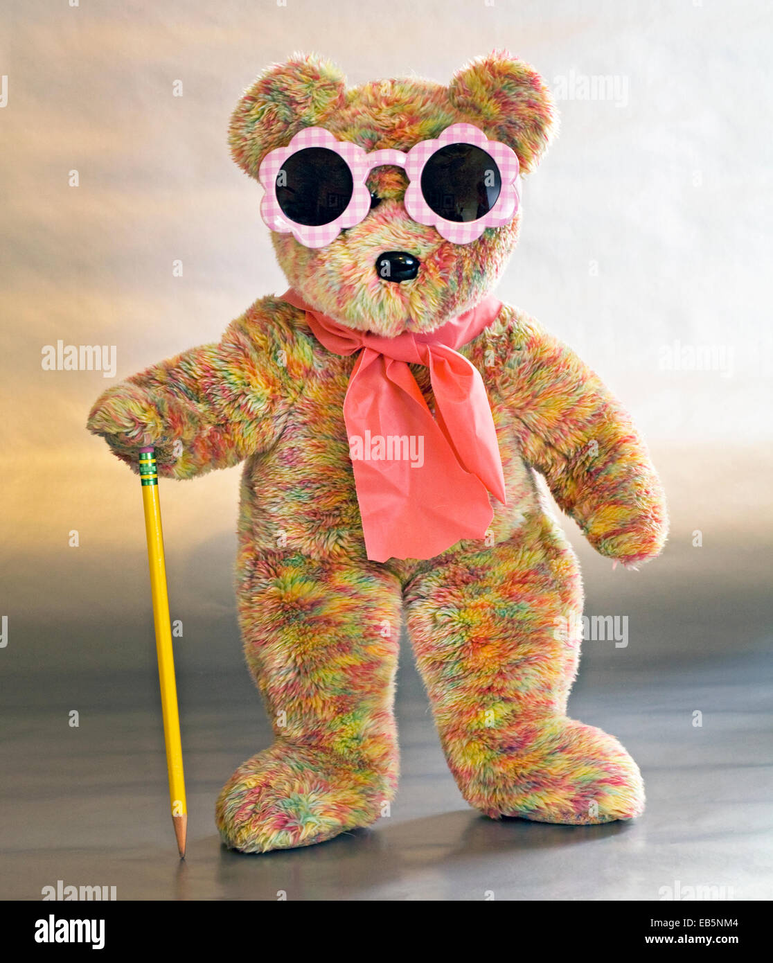 A teddybear dressed in sunglasses and carrying a cane Stock Photo