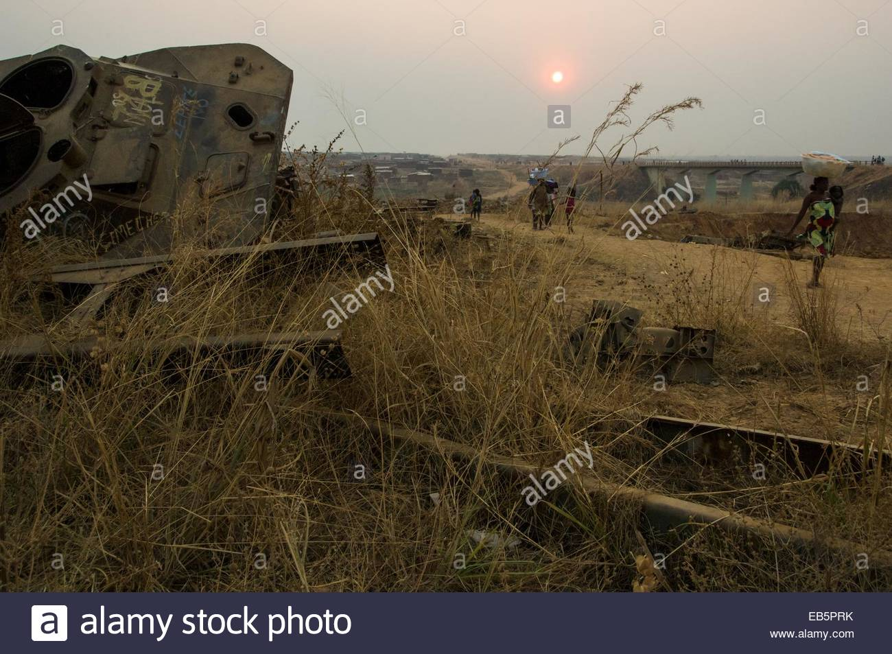 An abandoned Armoured vehicle from the Angolan civil war in the town of Menongue in the south of Angola. - Stock Image