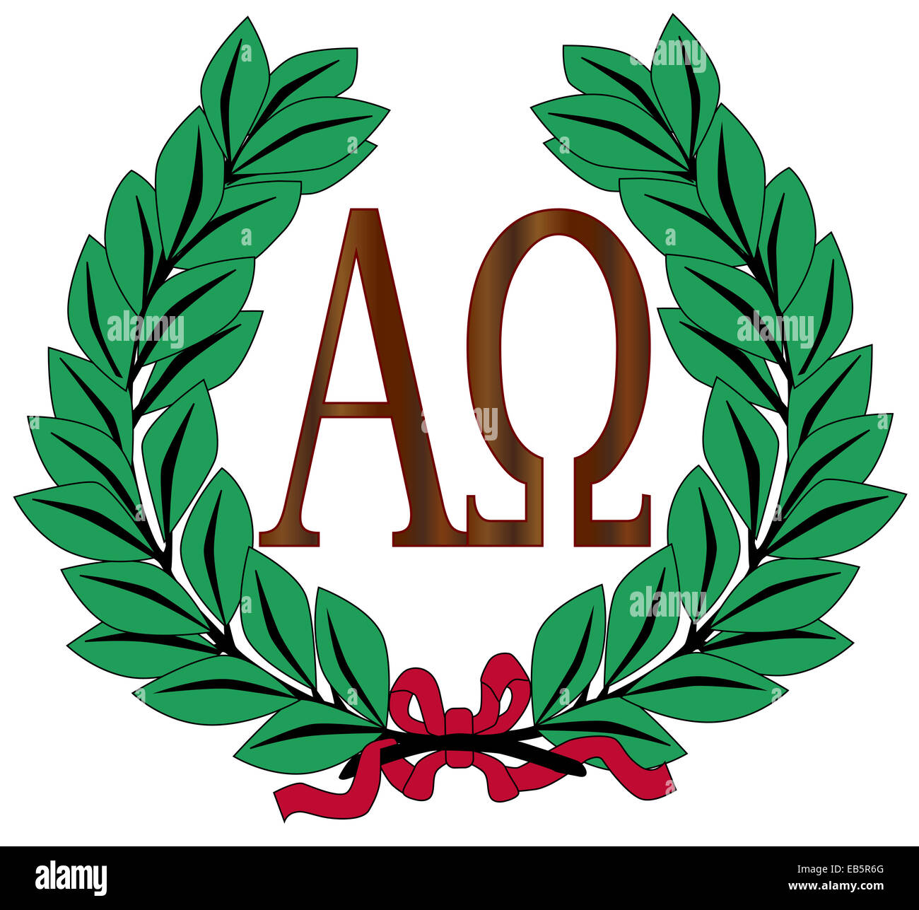The Alpha - Omega symbols over a white background within a wreath of olive - Stock Image