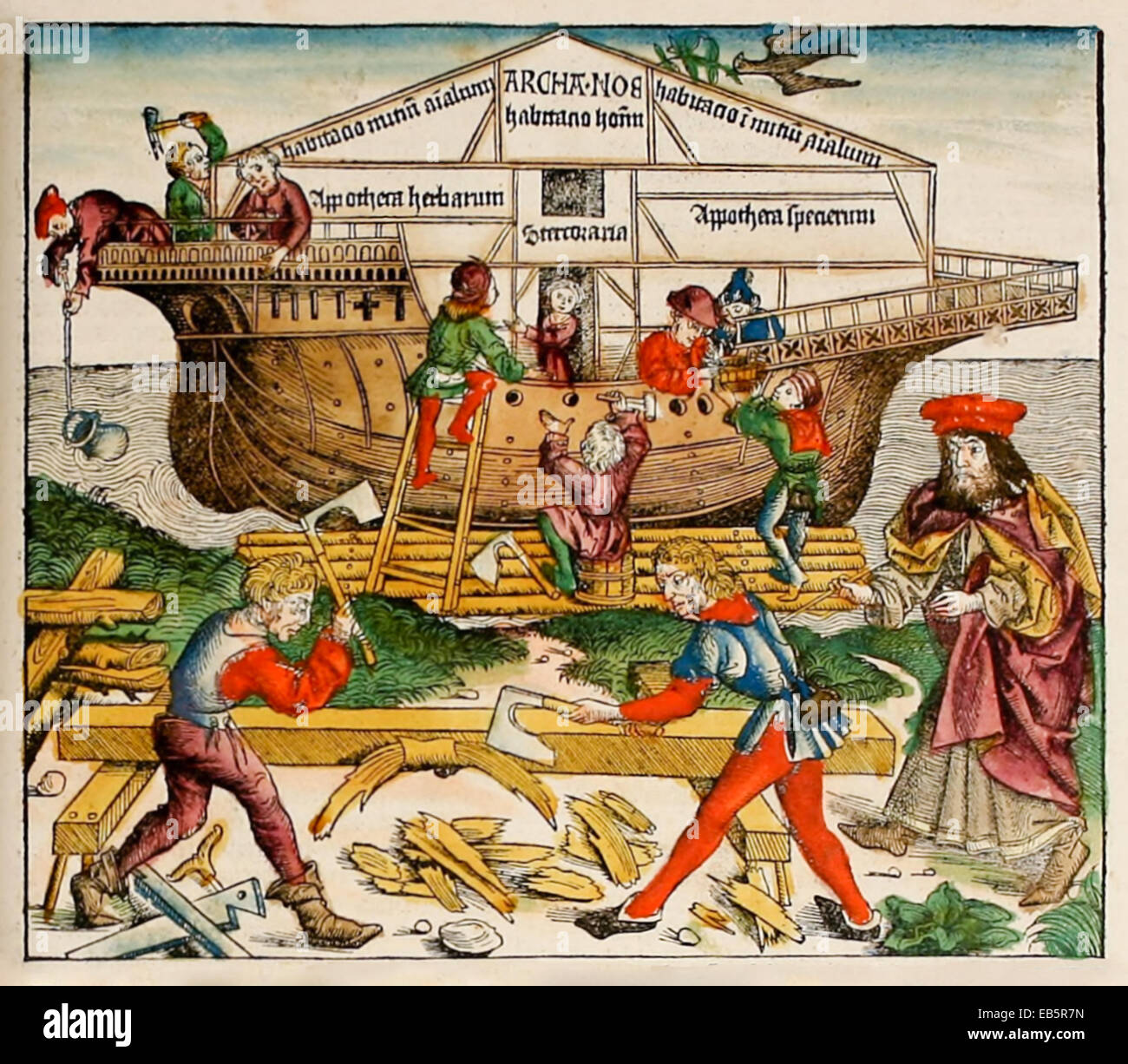 Noah's Ark from 'Nuremberg Chronicle' or 'Liber Chronicarum' by Hartmann Schedel (1440-1514). See description for Stock Photo