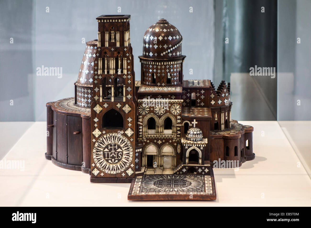 Ebony and ivory replica of Jerusalem's Church of the Holy Sepulchre, fashioned in the late 17th century by Franciscan - Stock Image