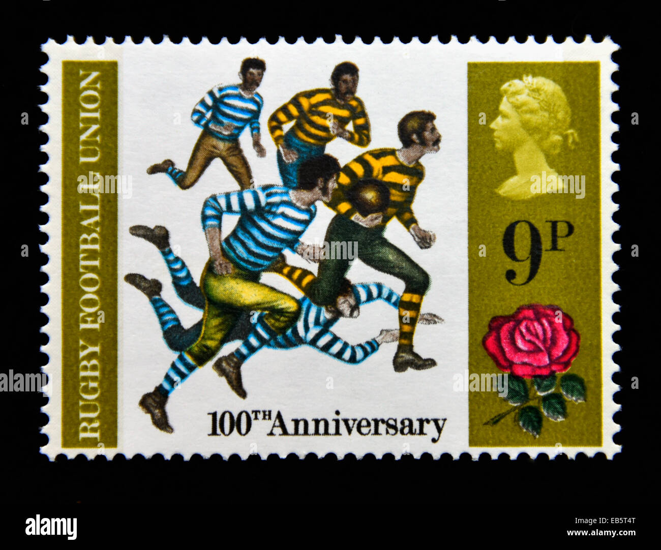 Postage stamp. Great Britain. Queen Elizabeth II. British Anniversaries. 1971. Rugby Football Union, 100th. Anniversary. - Stock Image