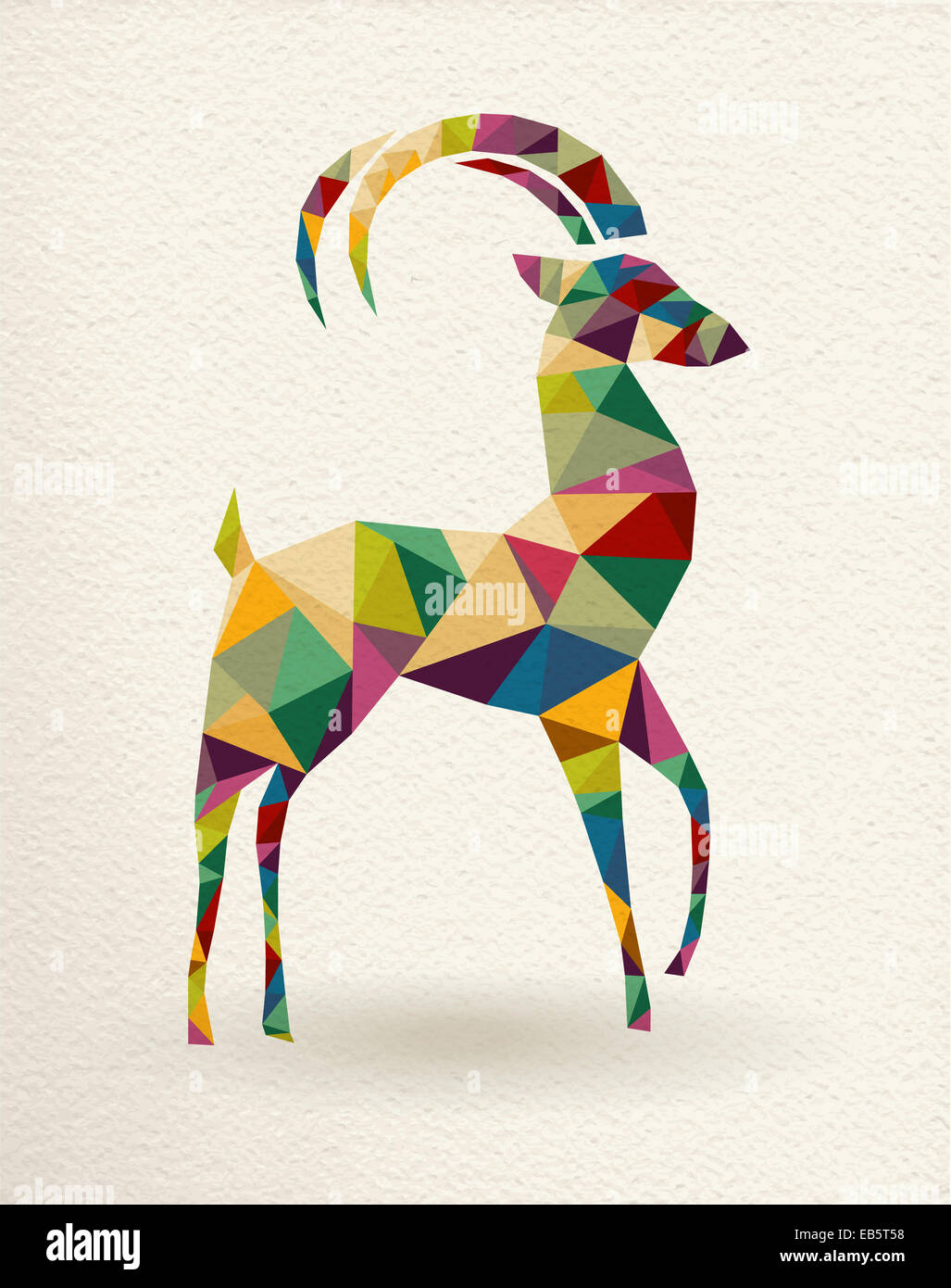 New Year of the Goat 2015 colorful geometric shape greeting card. - Stock Image