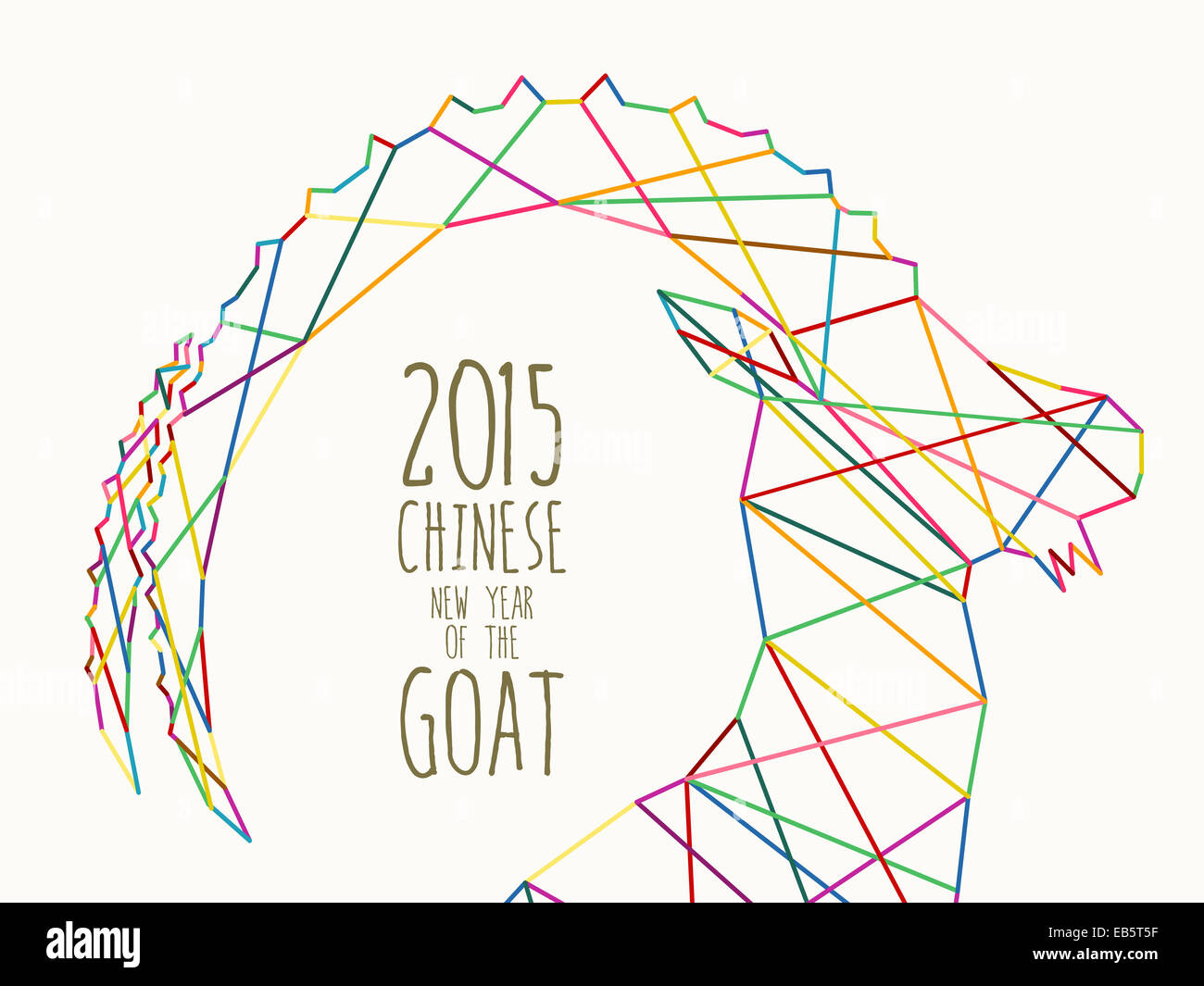 Chinese New Year of the Goat 2015 illustration with colorful lines triangle silhouette composition and hand written - Stock Image