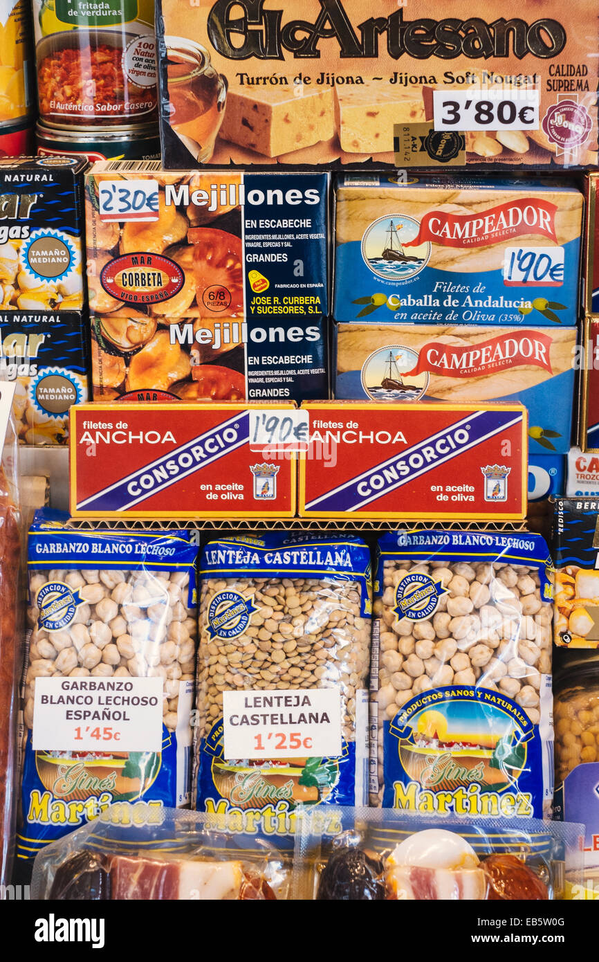 Spanish packaged foodstuffs  on display in Madrid shop window - Stock Image