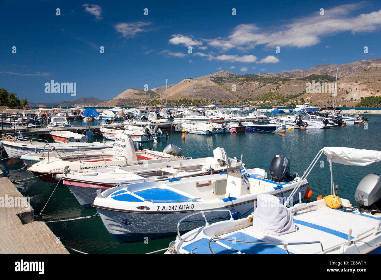 Argostoli, Kefalonia, Ionian Islands, Greece. View across the harbour. - Stock Image