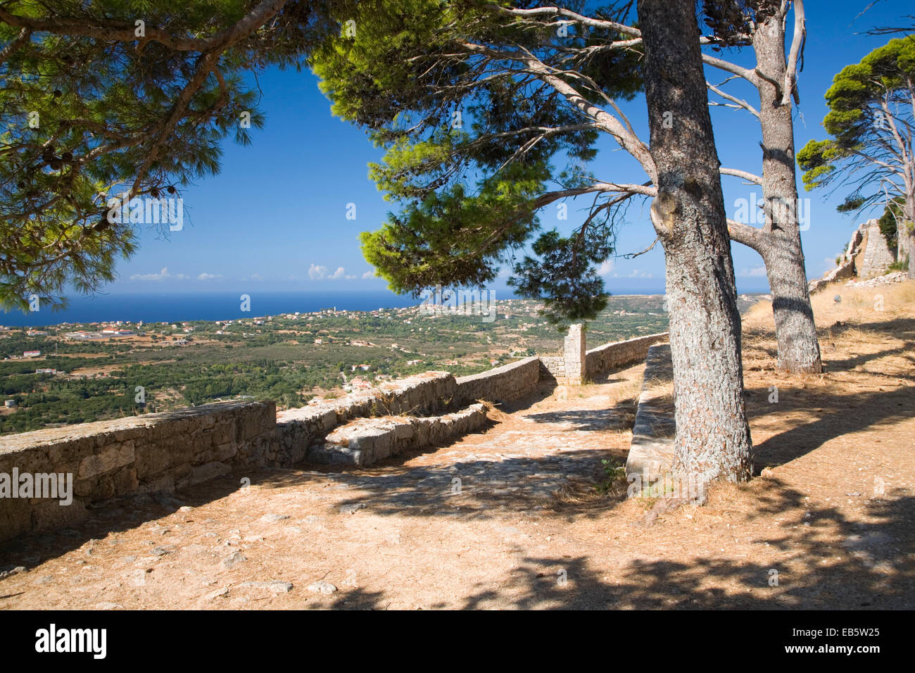 Kastro, Kefalonia, Ionian Islands, Greece. View towards the coast from ramparts of the Castle of Agios Georgios. - Stock Image